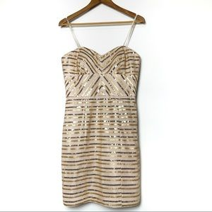 Cache Sequined Champagne Strapless Dress (10)
